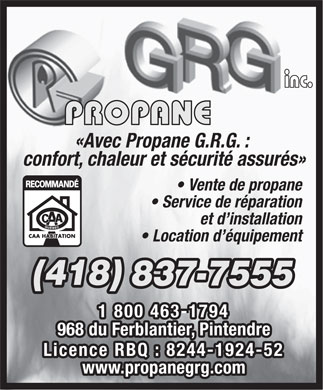 Propane G R G Inc (418-837-7555) - Display Ad