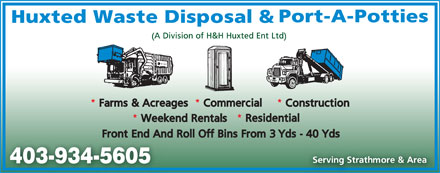 Huxted Waste Disposal (403-934-5605) - Display Ad