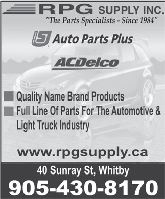 RPG Supply Inc/Auto Parts Plus (905-430-8170) - Display Ad