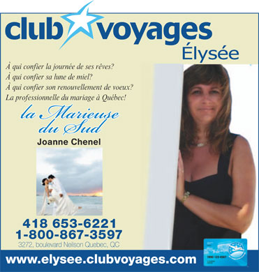 Club Voyages Elys&eacute;e (418-653-6221) - Annonce illustr&eacute;e