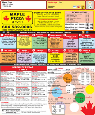 Maple Pizza (604-587-4203) - Menu