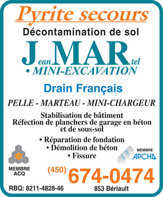 Jean Martel Inc (450-674-0474) - Display Ad
