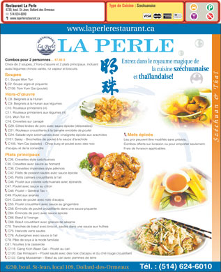 Restaurant La Perle (438-804-4948) - Display Ad