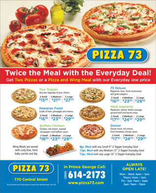 Pizza 73 (250-614-2173) - Display Ad
