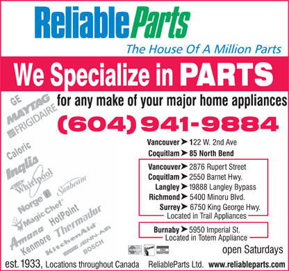 Reliable Parts Ltd (604-941-9884) - Annonce illustrée