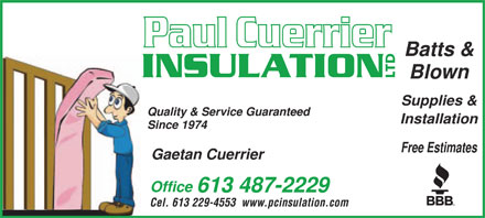 Cuerrier Paul Insulation Ltd (613-909-7482) - Display Ad