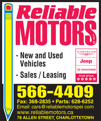 Reliable Motors Ltd (902-566-4409) - Annonce illustr&eacute;e - - New and Used Vehicles - Sales / Leasing www.reliablemotors.ca