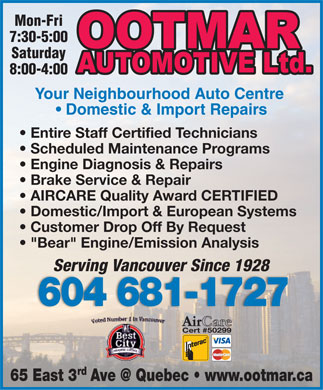 Ootmar Automotive Ltd (604-681-1727) - Display Ad