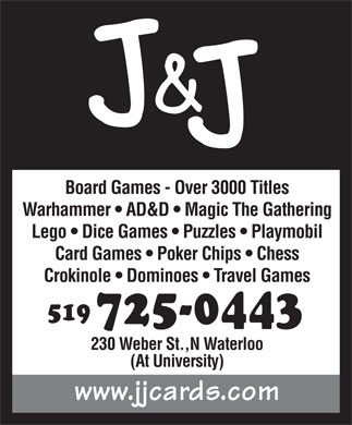 J & J Cards & Collectibles Ltd (519-725-0443) - Display Ad