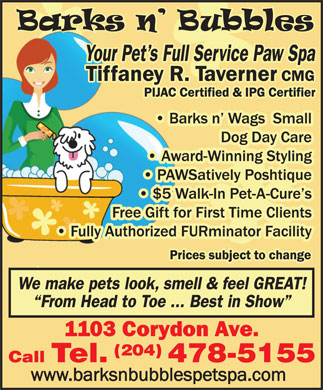 Barks N Bubbles Pet Spa Inc (204-478-5155) - Annonce illustr&eacute;e