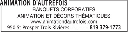 Animation D'Autrefois (819-379-1773) - Display Ad