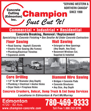 Champion Concrete Cutting & Coring Inc (780-412-1485) - Display Ad