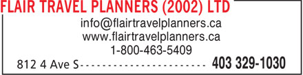 Flair Travel Planners (2002) Ltd (403-329-1030) - Annonce illustrée