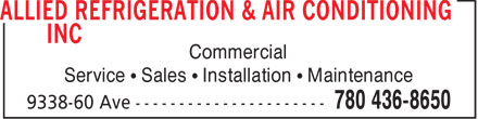 Allied Refrigeration & Air Conditioning Inc (780-436-8650) - Annonce illustrée - Commercial Service   Sales   Installation   Maintenance