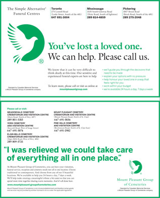 Simple Alternative Funeral Centres The (647-494-3521) - Annonce illustr&eacute;e - Operated by Canadian Memorial Services a Mount Pleasant Group of Cemeteries company MOUNT PLEASANT CEMETERY MEADOWVALE CEMETERY CREMATORIUM AND VISITATION CENTRE PINE HILLS CEMETERY YORK CEMETERY AND VISITATION CENTRE ELGIN MILLS CEMETERY CREMATORIUM AND VISITATION CENTRE funeral service Operated by Canadian Memorial Services a Mount Pleasant Group of Cemeteries company
