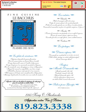 Restaurant Le Bacchus (819-823-3338) - Display Ad