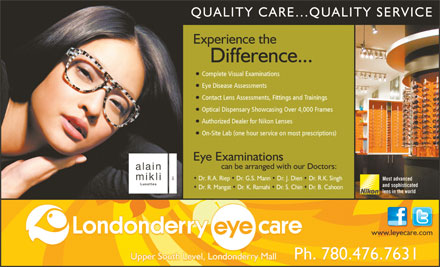 Londonderry Eye Care (780-392-0323) - Annonce illustr&eacute;e
