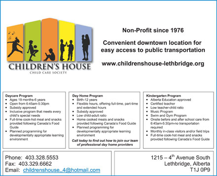 The Children's House (403-332-6167) - Annonce illustrée