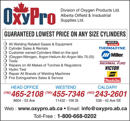Oxygen Products Ltd (780-465-2108) - Annonce illustrée