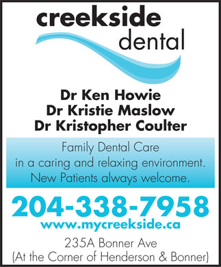 Creekside Dental (204-338-7958) - Annonce illustr&eacute;e