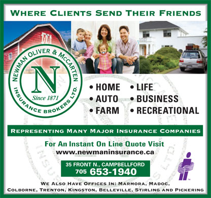 Newman Oliver & McCarten Insurance Brokers Ltd (705-653-1940) - Annonce illustrée