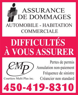 Courtiers Multi Plus Inc (450-419-8310) - Annonce illustr&eacute;e