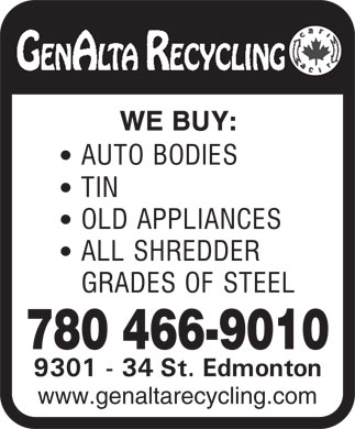 Genalta Recycling Inc (780-466-9010) - Annonce illustrée - 780 466-9010 www.genaltarecycling.com 780 466-9010 www.genaltarecycling.com