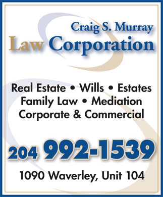Craig S Murray Law Corporation (204-992-1539) - Annonce illustrée