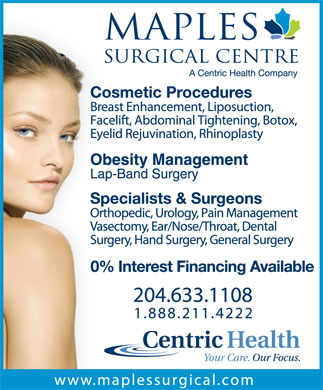 Maples Surgical Centre (204-633-1108) - Display Ad