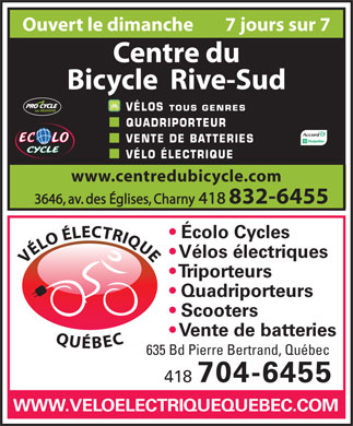 Centre du Bicycle Rive-Sud (418-832-6455) - Display Ad