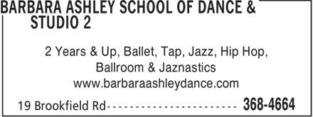 Ashley Barbara School Of Dance & Studio 2 (709-368-4664) - Annonce illustrée - 2 Years & Up, Ballet, Tap, Jazz, Hip Hop, Ballroom & Jaznastics www.barbaraashleydance.com