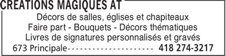 Créations Magiques AT (418-274-3217) - Annonce illustrée======= - Décors de salles, églises et chapiteaux - Faire part - Bouquets - Décors thématiques - Livres de signatures personnalisés et gravés