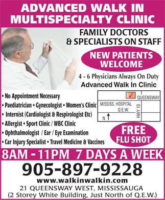 Advanced Walk-In Multi Specialty Clinic (905-897-9228) - Annonce illustrée