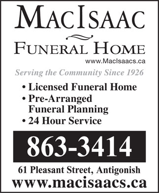 MacIsaac Funeral Home (902-863-3414) - Display Ad