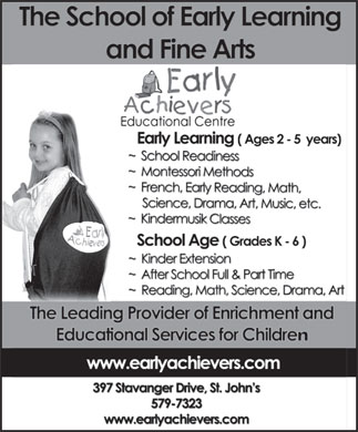Early Achievers Educational Centre (709-579-7323) - Annonce illustrée