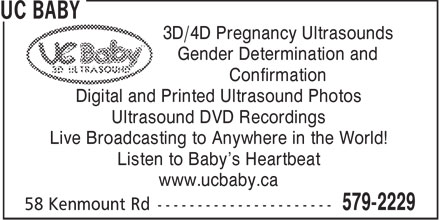 UC Baby (709-579-2229) - Annonce illustrée======= - UC BABY - 3D PREGNANCY ULTRASOUNDS - 4D PREGNANCY ULTRASOUNDS - LISTEN TO BABYS HEARTBEAT - ULTRASOUND DVD RECORDINGS - PRINTED ULTRASOUND PHOTOS - DIGITAL ULTRASOUND PHOTOS - CONFIRMATION