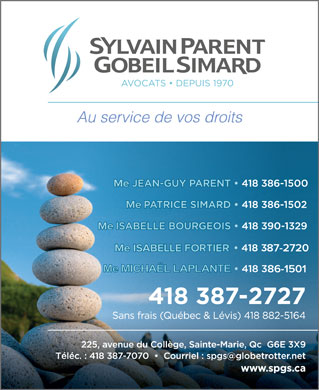 Sylvain Parent Gobeil (581-981-0974) - Annonce illustr&eacute;e - Au service de vos droits Me MICHA&Euml;L LAPLANTE Au service de vos droits Me MICHA&Euml;L LAPLANTE