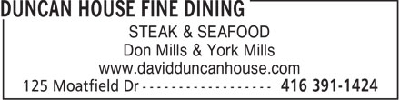 Duncan House Fine Dining (416-391-1424) - Display Ad