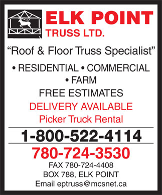 Elk Point Truss Ltd (780-724-3530) - Display Ad