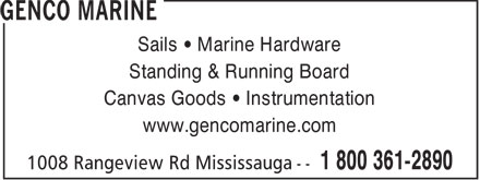 Genco Marine (905-278-2891) - Display Ad - Sails • Marine Hardware Standing & Running Board Canvas Goods • Instrumentation www.gencomarine.com