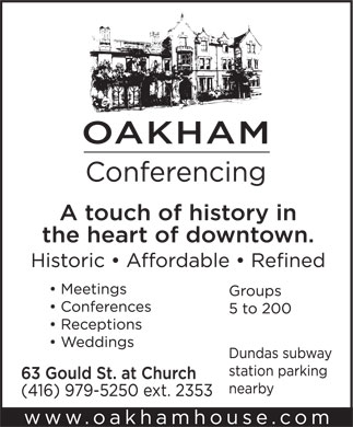 Oakham House Conferencing (416-979-5250) - Display Ad