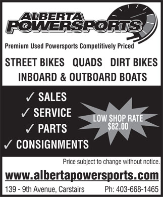 Alberta Powersports (403-668-1465) - Display Ad