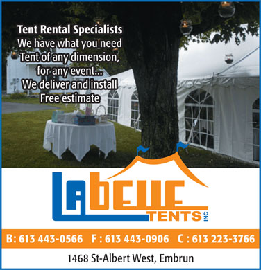 Labelle Tents (613-443-0566) - Annonce illustr&eacute;e