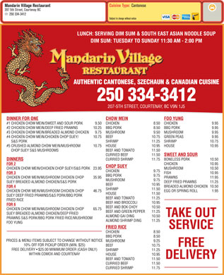Mandarin Village Restaurant (250-334-3412) - Menu