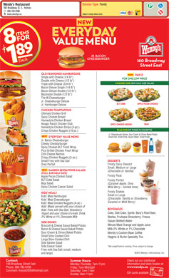 Wendy's Restaurant (306-783-0100) - Menu