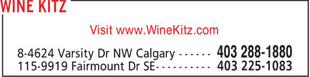 Wine Kitz (403-288-1880) - Display Ad - Visit www.WineKitz.com