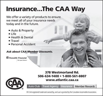 CAA Insurance (506-634-1400) - Display Ad