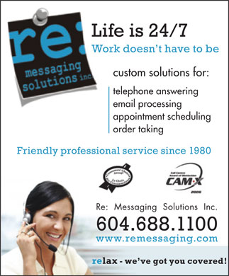 Re: Messaging Solutions Inc (604-688-1100) - Annonce illustr&eacute;e