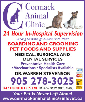 Cormack Animal Clinic (289-814-1460) - Display Ad