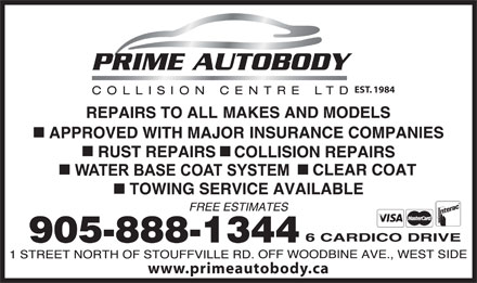 Prime Autobody Collision Centre (905-888-1344) - Display Ad - EST. 1984 www.primeautobody.ca